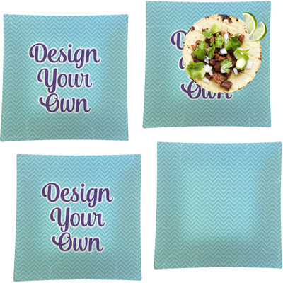 """Design Your Own Personalized Set of 4 Glass Square Lunch / Dinner Plate 9.5"""""""