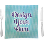 "Design Your Own 9.5"" Glass Square Lunch / Dinner Plate- Single or Set of 4 (Personalized)"