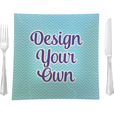 "Design Your Own Personalized 9.5"" Glass Square Lunch / Dinner Plate- Single or Set of 4"