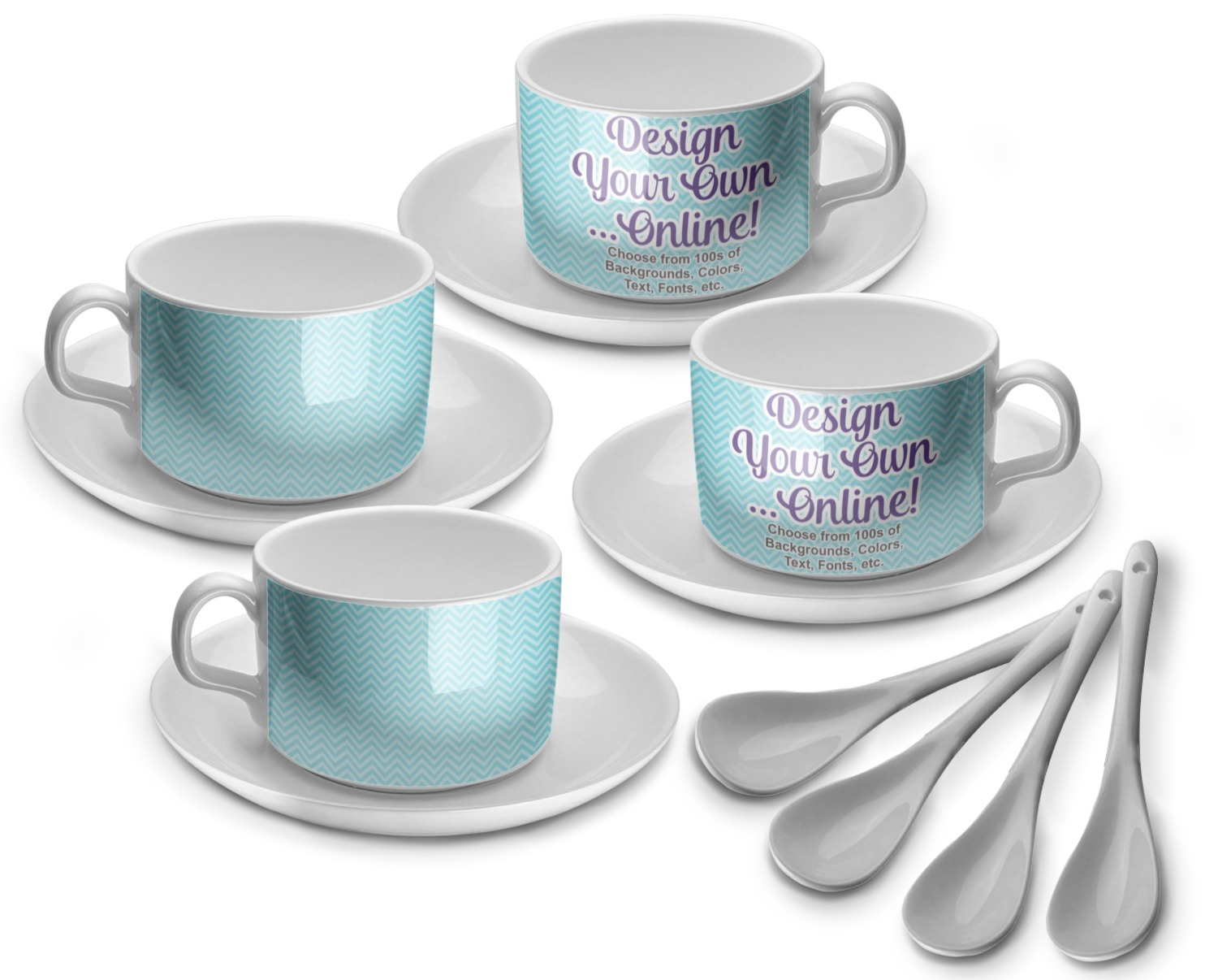 design your own tea cup set of 4 personalized