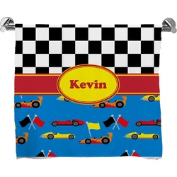 Racing Car Full Print Bath Towel (Personalized)