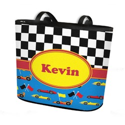 Racing Car Bucket Tote w/ Genuine Leather Trim (Personalized)