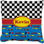 Racing Car Faux-Linen Throw Pillow (Personalized)