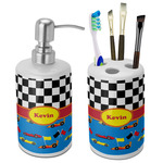 Racing Car Bathroom Accessories Set (Ceramic) (Personalized)