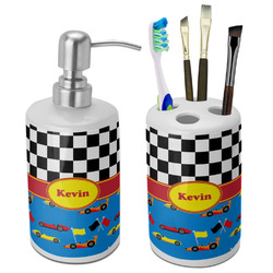 Racing Car Ceramic Bathroom Accessories Set (Personalized)