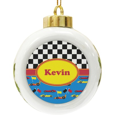 Racing Car Ceramic Ball Ornament (Personalized)