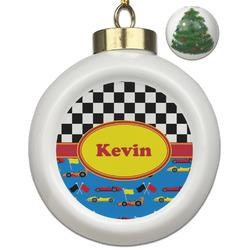 Racing Car Ceramic Ball Ornament - Christmas Tree (Personalized)