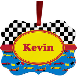 Racing Car Metal Frame Ornament - Double Sided w/ Name or Text