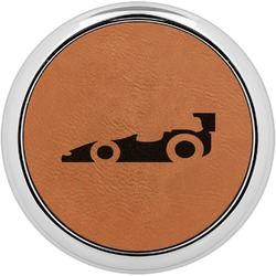 Racing Car Leatherette Round Coaster w/ Silver Edge - Single or Set (Personalized)