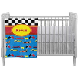 Racing Car Crib Comforter / Quilt (Personalized)