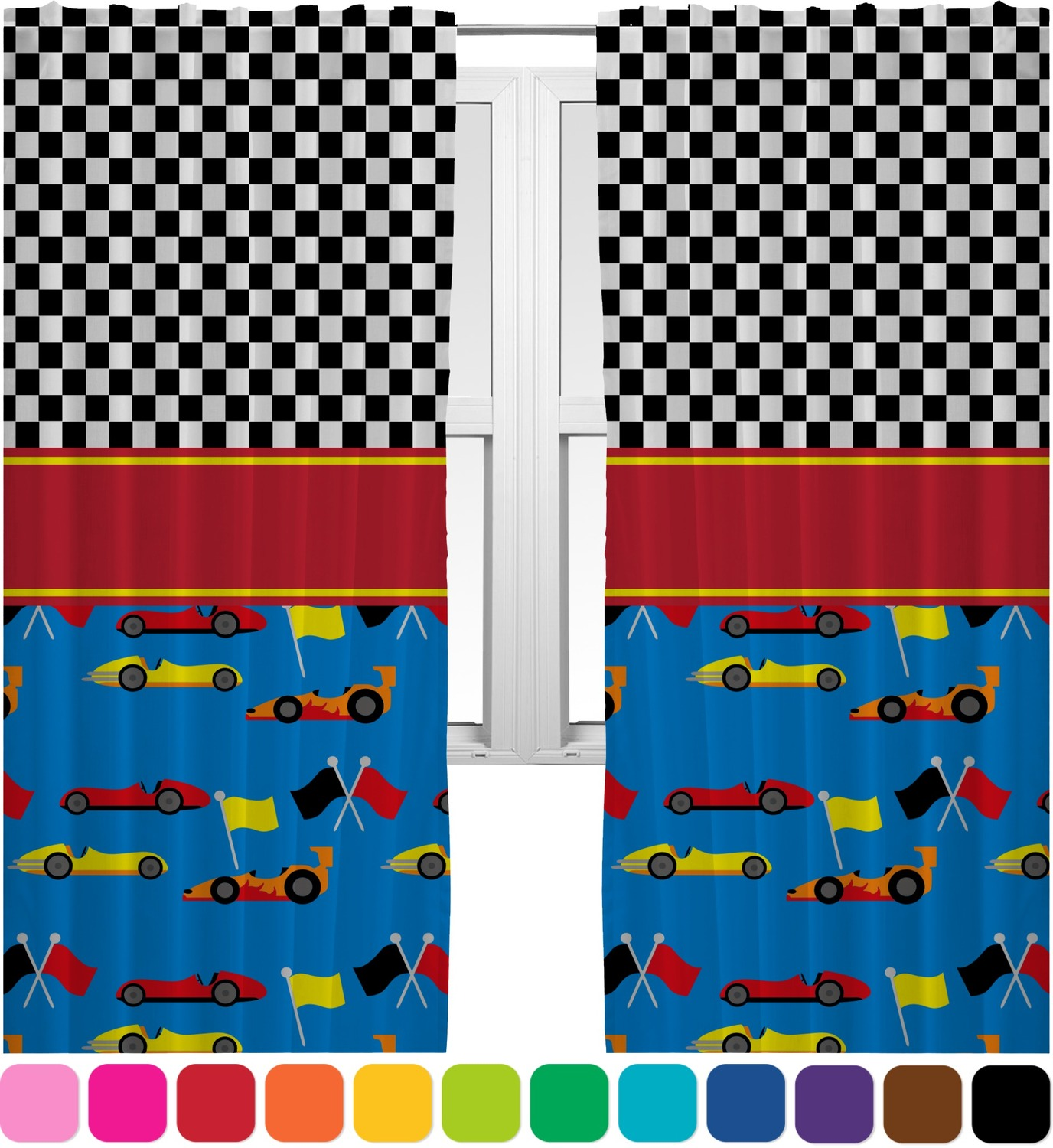 Racing Car Curtains 2 Panels Per Set Personalized