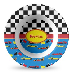Racing Car Plastic Bowl - Microwave Safe - Composite Polymer (Personalized)