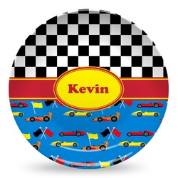 Racing Car Microwave Safe Plastic Plate - Composite Polymer (Personalized)