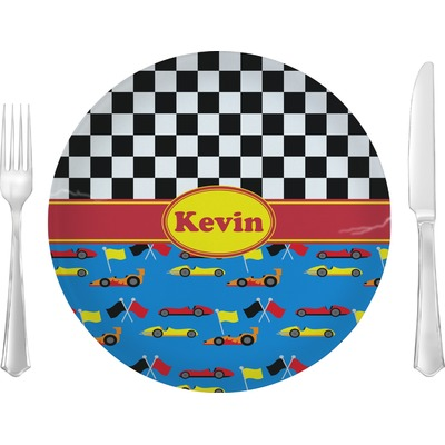 """Racing Car 10"""" Glass Lunch / Dinner Plates - Single or Set (Personalized)"""