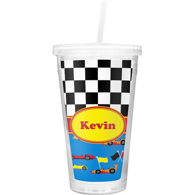 Racing Car Double Wall Tumbler with Straw (Personalized)