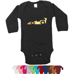 Racing Car Foil Bodysuit - Long Sleeves - 0-3 months - Gold, Silver or Rose Gold (Personalized)