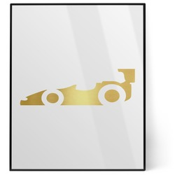 Racing Car 8x10 Foil Wall Art - White (Personalized)