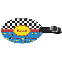 Racing Car Genuine Leather Oval Luggage Tag (Personalized)