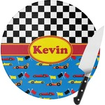 Racing Car Round Glass Cutting Board (Personalized)