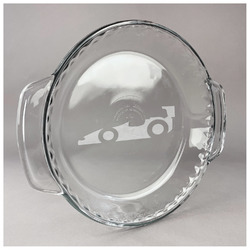 Racing Car Glass Pie Dish - 9.5in Round (Personalized)