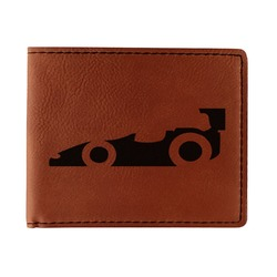 Racing Car Leatherette Bifold Wallet - Double Sided (Personalized)