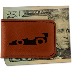 Racing Car Leatherette Magnetic Money Clip - Single Sided (Personalized)