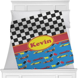 "Racing Car Fleece Blanket - Twin / Full - 80""x60"" - Single Sided (Personalized)"