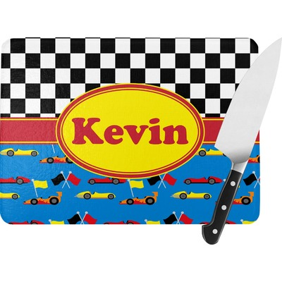 Racing Car Rectangular Glass Cutting Board (Personalized)