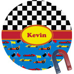 Racing Car Round Magnet (Personalized)