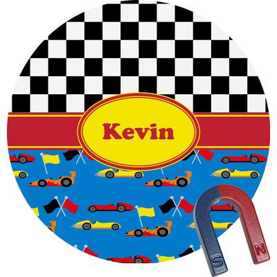 Racing Car Round Fridge Magnet (Personalized)