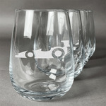 Racing Car Stemless Wine Glasses (Set of 4) (Personalized)