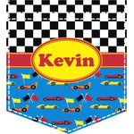 Racing Car Iron On Faux Pocket (Personalized)