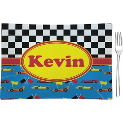 Racing Car Glass Rectangular Appetizer / Dessert Plate - Single or Set (Personalized)