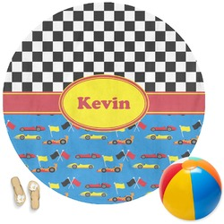Racing Car Round Beach Towel (Personalized)