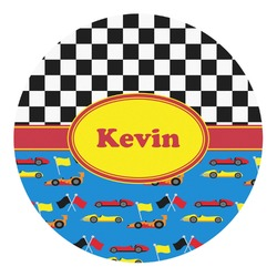 Racing Car Round Decal - Custom Size (Personalized)