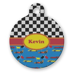 Racing Car Round Pet Tag (Personalized)