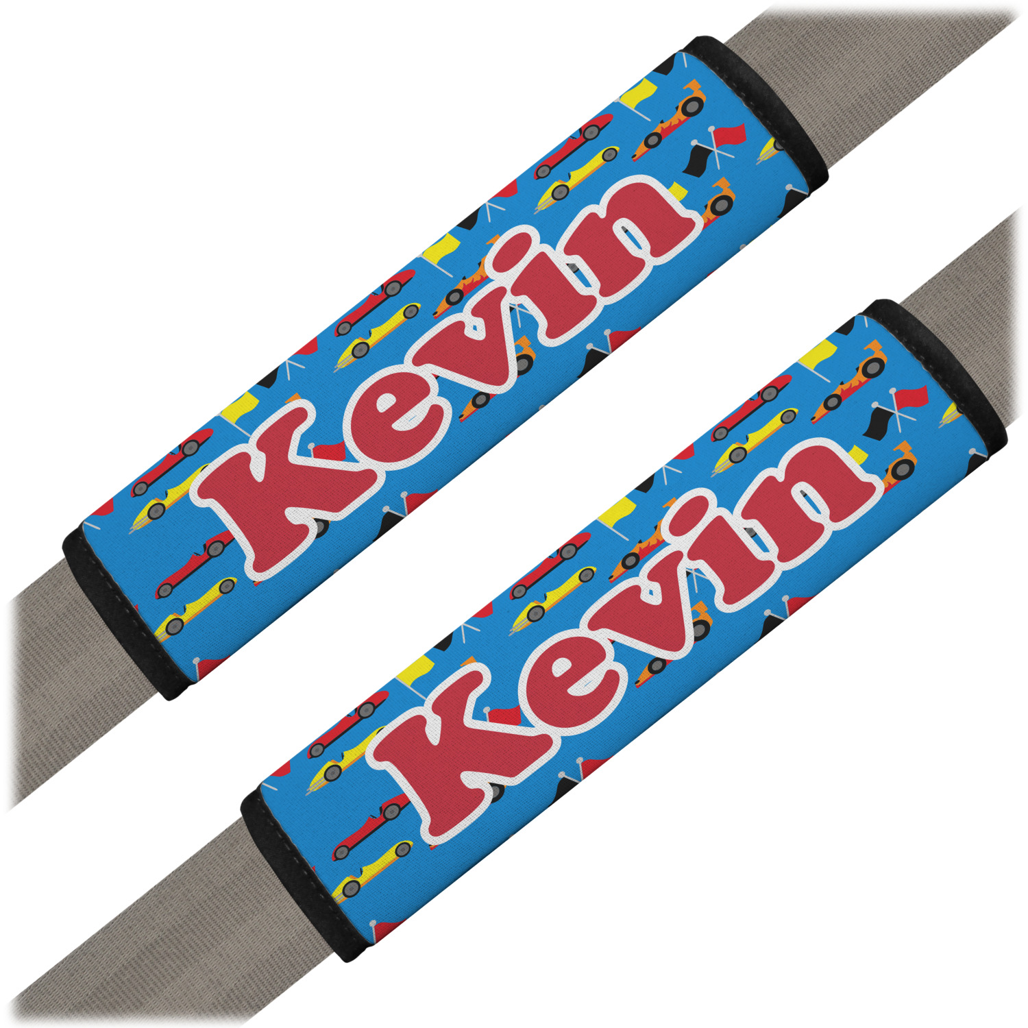 Racing Car Seat Belt Covers Set Of 2 Personalized