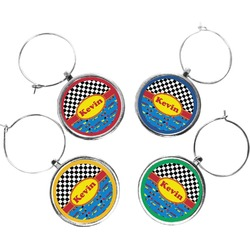 Racing Car Wine Charms (Set of 4) (Personalized)