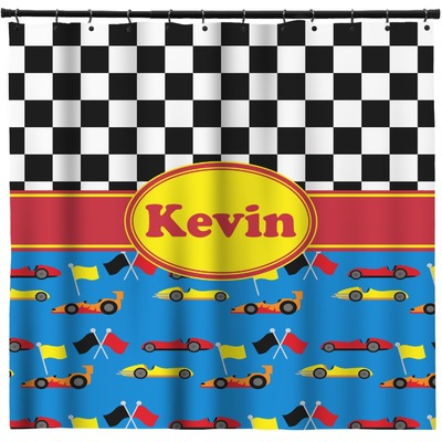 Racing car shower curtain personalized youcustomizeit for Race car shower curtain