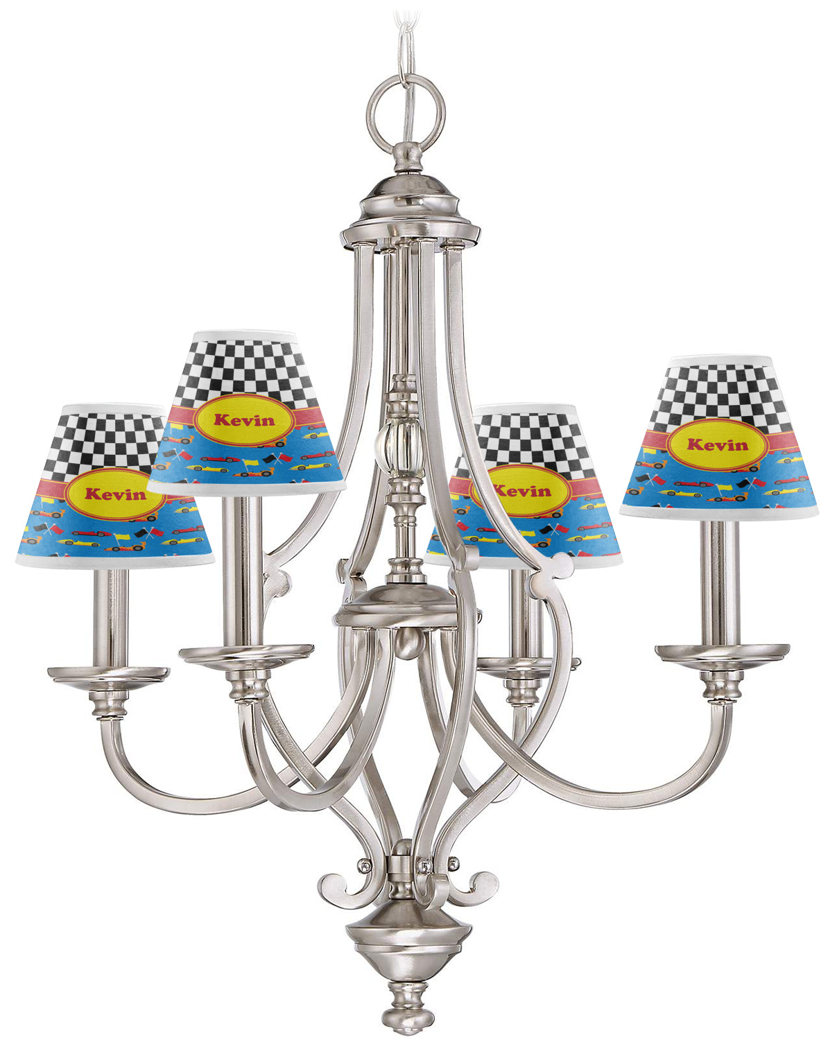 Racing Car Chandelier Lamp Shade (Personalized) - YouCustomizeIt