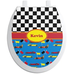 Racing Car Toilet Seat Decal - Round (Personalized)