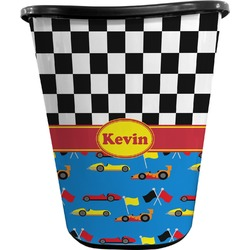 Racing Car Waste Basket - Double Sided (Black) (Personalized)