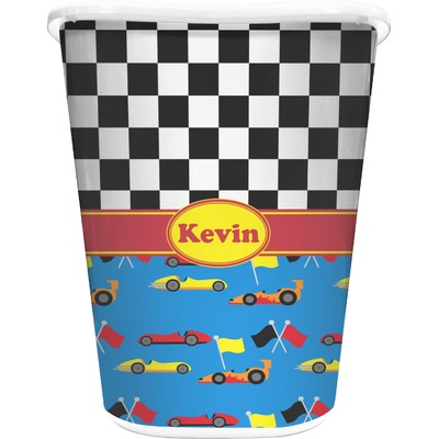 Racing Car Waste Basket - Double Sided (White) (Personalized)