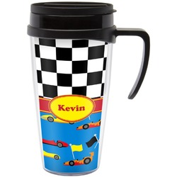 Racing Car Travel Mug with Handle (Personalized)