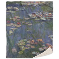 Water Lilies by Claude Monet Sherpa Throw Blanket