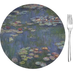 "Water Lilies by Claude Monet Glass Appetizer / Dessert Plates 8"" - Single or Set"