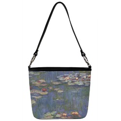 Water Lilies by Claude Monet Bucket Bag w/ Genuine Leather Trim