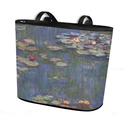 Water Lilies by Claude Monet Bucket Tote w/ Genuine Leather Trim