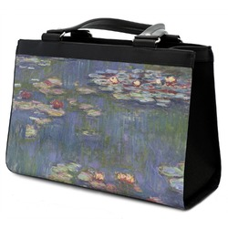 Water Lilies by Claude Monet Classic Tote Purse w/ Leather Trim
