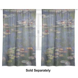 "Water Lilies by Claude Monet Curtains - 20""x84"" Panels - Lined (2 Panels Per Set)"